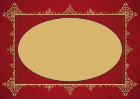 Elegant Burgundy Golden Vintage Style Framework with Ellipse Copy Space.