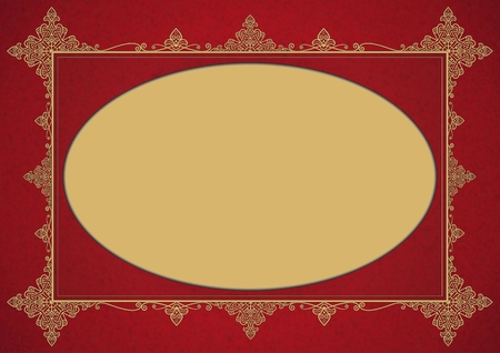 ellipse: Elegant Burgundy Golden Vintage Style Framework with Ellipse Copy Space.