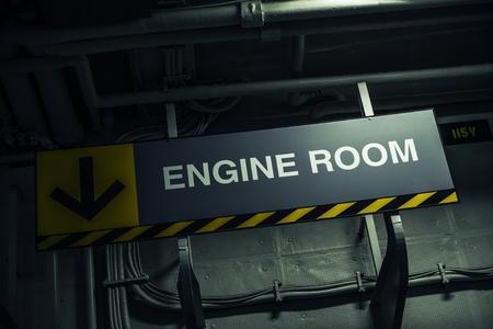 engine room: Engine Room Sign Inside Military Warship Stock Photo