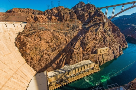 hoover dam: Hoover Dam, Bypass Bridge and Scenic Colorado River Canyon. United States.