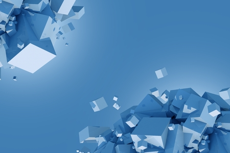 Blue Cubes Concept Illustration with Copy Space