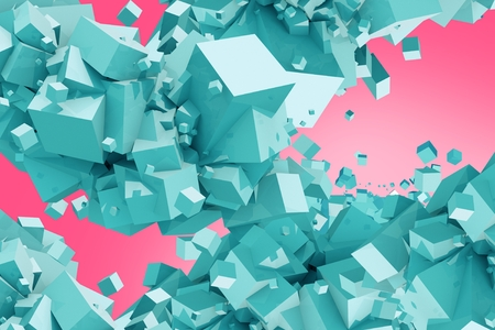 pinky: Blue Cubes on Pink Background Abstract 3D Illustration