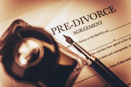 divorce: Acuerdo Documento divorcio Pre, Ink-Botella y la Pluma