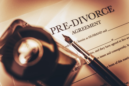 divorce: Pre Divorce Agreement Document, Ink-Bottle and the Fountain Pen