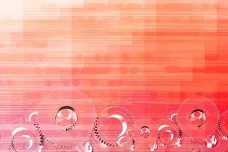 Reddish Orange Abstract Technology Background with 3D Metallic Cogwheels. Stock fotó