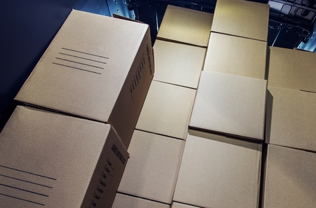 courier: Pile of Cartoon Boxes Inside Cargo Van Area