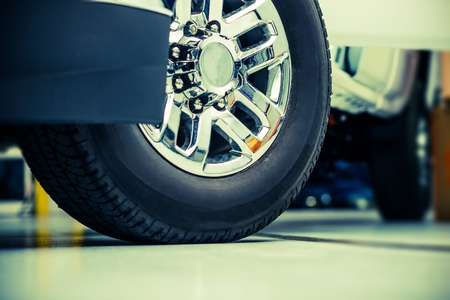 traction: Pickup Truck Wheels and Tires Closeup Photo Stock Photo