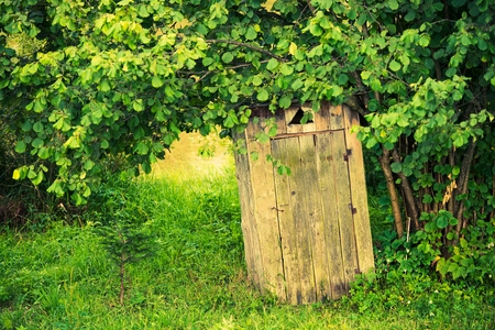 outhouse: Old Wooden Backyard Outhouse. Rustic Outhouse Stock Photo
