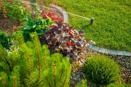 Backyard Lawn and Garden Sprinkler Closeup. Garden Watering. Reklamní fotografie