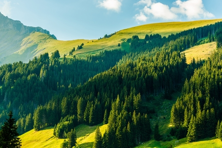 Scenic Swiss Alps Sunset Scenery near Adelboden, Switzerland, Europe. European Alps Landscape. Stock Photo