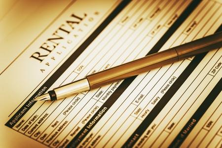 renter: Renter Application Signing Concept. Rental Legal Document.