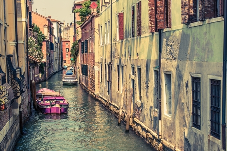 waterway: Venice Canal Architecture. Venetian Water Canal. Venice, Italy.