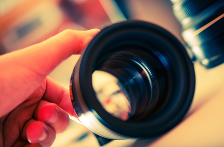 servicing: Servicing Photography Lens. Telephoto Lens Check. Digital Photography Theme.