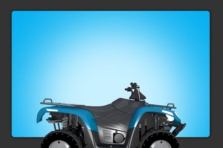 Quad ATV Background Illustration. Blue ATV Quad Bike and Blue Background Copy Space.