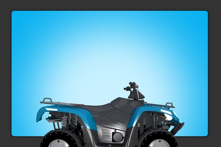 atv: Quad ATV Background Illustration. Blue ATV Quad Bike and Blue Background Copy Space.