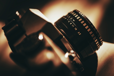 viewfinder vintage: Analog Vintage Camera with Prime Lens Closeup Photo. History of Photography.