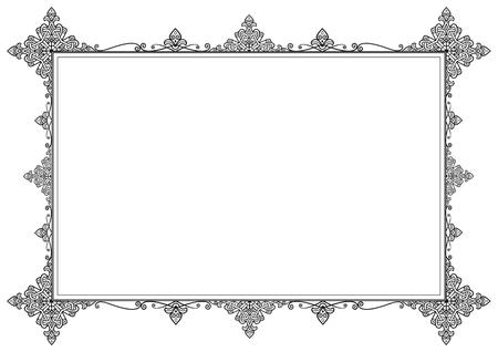 Elegant Black Vintage Frame on White. Simple Frame Illustration. Reklamní fotografie