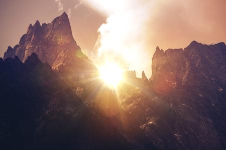 massif: Mont Blanc Massif Sunset. Italian Alps Mountain Sunset Scenery.
