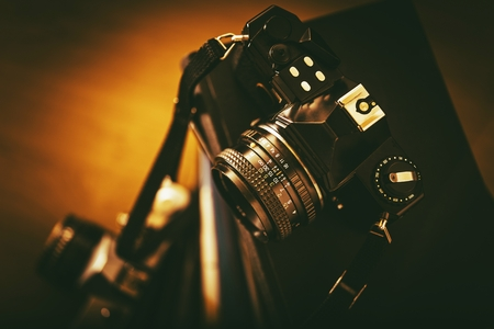 camera: Vintage Analog Film Cameras Closeup. Vintage Photography Concept.