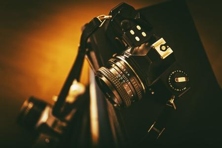 Vintage Analog Film Cameras Closeup. Vintage Photography Concept.