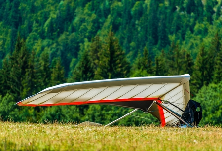 hang glider: Hang Gliding Air Sport. Non-Motorized Foot-Launch Aircraft. Hang Glider on a Meadow