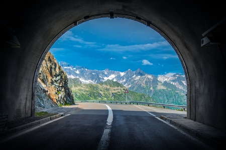 Scenic Swiss Alps Drive. Mountain Pass Tunnel in the Switzerland Alp Mountains. Stock fotó