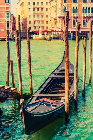 venice: Famous Venice Gondola at Grand Canal. Venice, Italy, Europe.