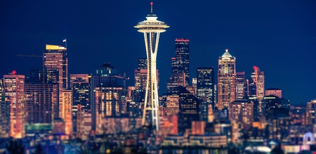 Seattle Night Skyline in Panoramic Photography. Seattle, Washington, United States.