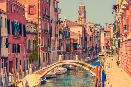 venice: Venice Italy Architecture. Summer in the Venice. One of the Hundreds Water Canals and Bridges. Venezia and Venetian Gothic Architecture Stock Photo