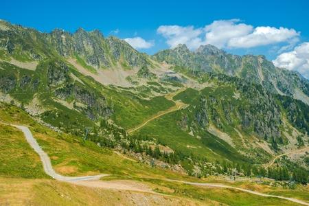 france: Chamonix Alpine Trails. High Alps Hiking Trails Near Chamonix, France, Europe.