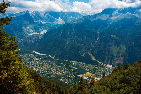 Chamonix France Cityscape. French Alps and the City.