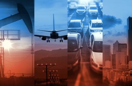 수송: 강력한 글로벌 경제에서 에너지와 교통. 상승 에너지 소비. 개념 사진 콜라주.