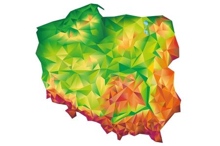 Geometric Poland Map Concept Illustration Isolated on White Background. Poland, Europe.