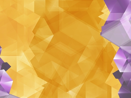 accents: Geometric Yellow Background Illustration with Purple Diamond Accents. Abstract Background. Stock Photo