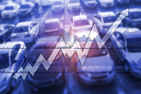 Fast Growing Global Car Sales Market Concept Photo Illustration.