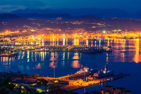 la: La Spezia at NIght. Gulf of La Spezia in the Liguria Region of Northern Italy
