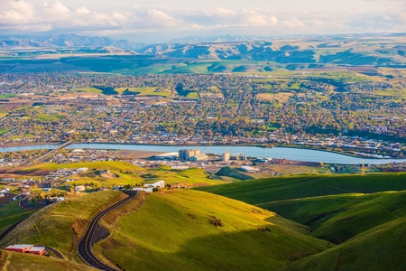 usa cityscape: Lewistone Idaho USA Cityscape and the Snake River in Summer. United States.