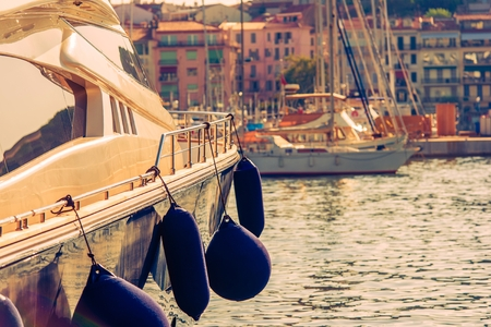 water transportation: Luxury Yacht in the Marina. Cannes, France, Europe. Stock Photo