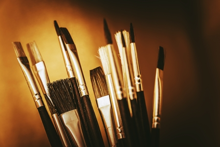 paintbrushes: Oil Painting Tools. Oil Painting Paintbrushes Closeup. Stock Photo