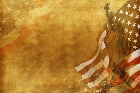 We The People Old American Background with Statue of Liberty and United States Flag.