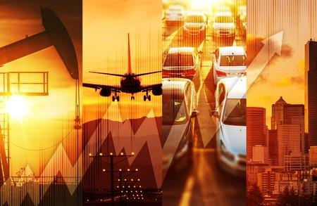 economia: Potente Economía Concepto Collage. Petróleo y Gas Mercado, Transporte y la ciudad grande con los rascacielos. Global Energía y Economía Collage conceptual.