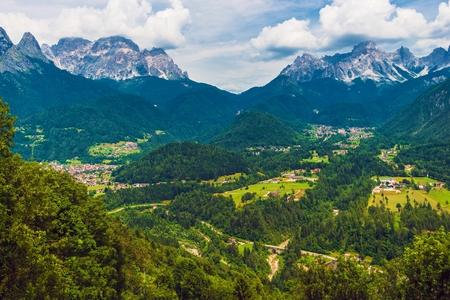 Italian Dolomites Living. Alpine Italian Villages. Dolomites Mountain Range, Italy, Europe.