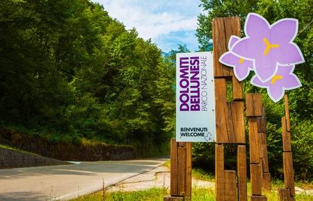 Dolomiti Bellunesi National Park, Italy, Europe. Italian Alps. Dolomiti Bellunesi Parco Nazionale Welcome Sign. Stock Photo