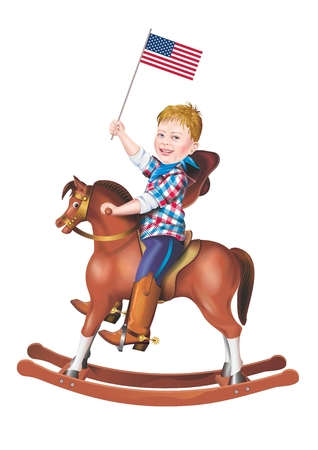 rocking horse: American Patriot on the Rocking Horse. Little Boy with American Flag Riding on a Rocking Horse Illustration. American Proud. Isolated on White.