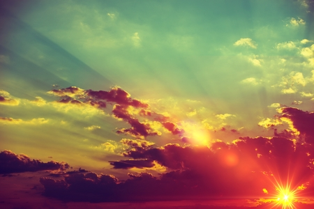 Sunset Scenery Background. Sunset Cloudscape Photo Backdrop. Stock Photo