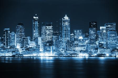 Night in the Seattle. Seattle, Washington City Skyline. Vivid Blue Color Grading. United States.