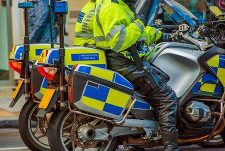 patrolling: London Motorcycle Police. London Metropolitan Police Officers on Bikes. London, United Kingdom.