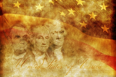 American Presidency Concept Background Illustration. Aged Sepia Theme. United States of America Presidents Backdrop.