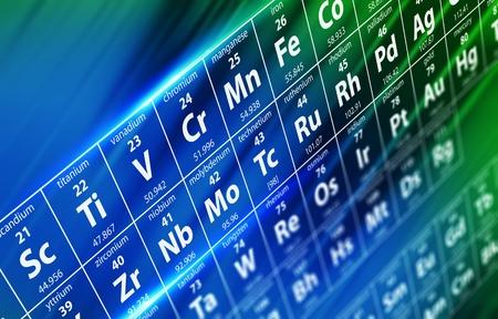 Koncepční ilustrace periodické tabulky prvků s hloubkou pole. Koncepční ilustrace chemie a vědy.
