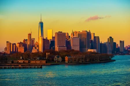 New York City at Skyline Sunset. NYC Manhattan, United States of America.